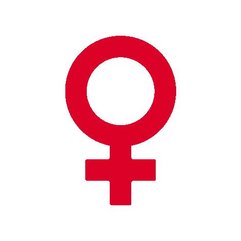 Rødt feministtegn ikon