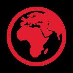 Rød jordklode ikon